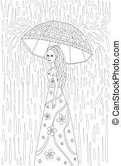 parasol, książka, ładny, kolorowanie, dziewczyna, twój
