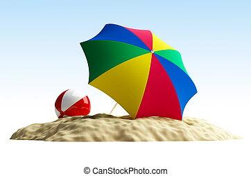 parasol, piłka, plaża