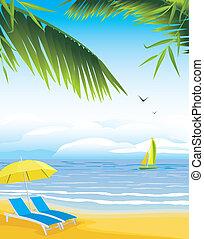 parasol, plaża, deckchairs