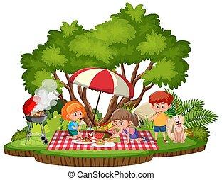 park, dzieciaki, odizolowany, piknik
