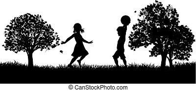 park, dzieciaki, sylwetka, interpretacja