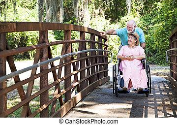 park, para, niepełnosprawny, senior