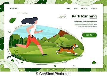 park, -, pies, ilustracja, wyścigi, wektor, dziewczyna