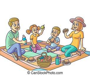 park., piknik, posiadanie, rodzina, szczęśliwy
