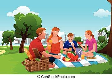 park, piknik, posiadanie, rodzina