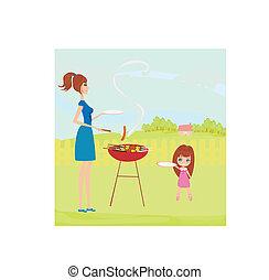 park, piknik, rodzina, posiadanie
