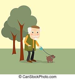park, stary pies, człowiek