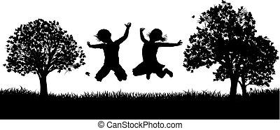 park, sylwetka, dzieci, szczęśliwy