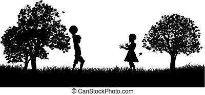 park, sylwetka, interpretacja, dzieci
