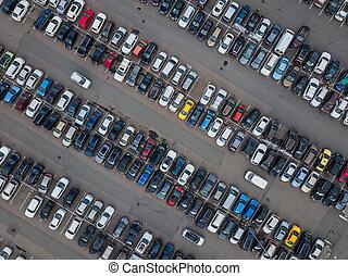 parking, wóz, -, antenowy prospekt