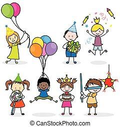 partia, komplet, dzieci