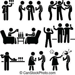 partia, ludzie, cocktail, przyjaciel, człowiek