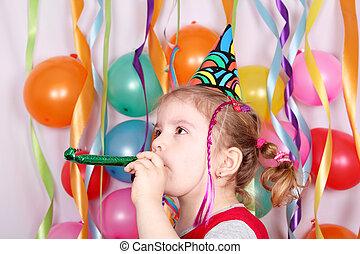 partia, mały, urodzinowa dziewczyna