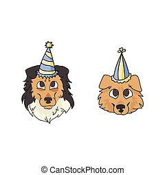 partia, twarz, canine., mascot., genealogia, krajowy, ilustracja, odizolowany, szczeniak, wektor, purebred, sprytny, celebrowanie, szorstki, psiarnia, lovers., pies collie, rysunek, sheepdog, kapelusz, clipart.