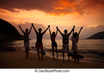 partying, ludzie, plaża