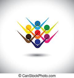 partying, pojęcie, przedstawiać, abstrakcyjny, &, ludzie, również, podniecony, może, barwny, interpretacja, ilustracja, graficzny, children., podniecony, dzieciaki, personel, to, pracownicy, etc, wektor, przyjaciele, szczęśliwy, albo