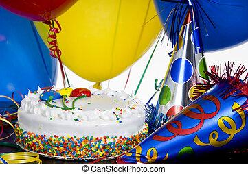 partyjne kapelusze, urodziny, balony, ciastko
