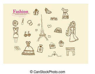 paryż, doodles, fason, komplet