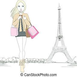 paryż, dziewczyna, fason