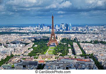 paryż, eiffel, -, wieża, francja