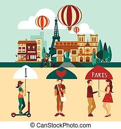 paryż, komplet, turystyczny