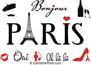 paryż, komplet, wektor, eiffel wieża