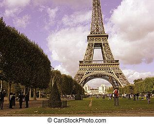 paryż, objazd eiffel, kolor