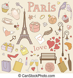 paryż, pastel, komplet