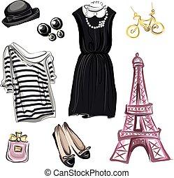 paryż, wiosna, styl, fason