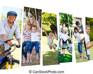 pary, dzieci, ich, czas, spędzając, collage