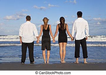 pary, ludzie, młody, dwa, cztery, dzierżawa wręcza, plaża