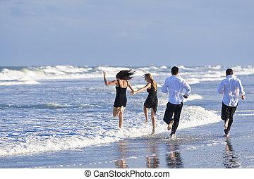 pary, ludzie, młody, dwa, cztery, zabawa, plaża, posiadanie