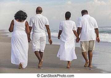 pary, szczęśliwy, amerykanka, mężczyźni, kobiety, senior, afrykanin, plaża