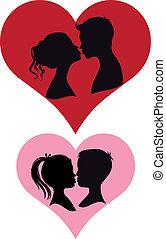 pary, wektor, całowanie