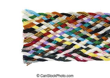 pas, wielobarwny, tkany, bawełna