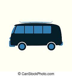 pasażer, awangarda, płaski, wóz, ilustracja, wektor, style.