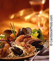 pasta, produkty morza