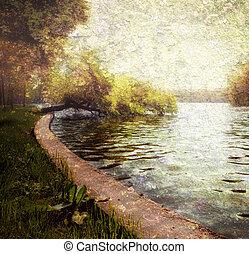 pastel, jasny, natura, -, jezioro, drzewa