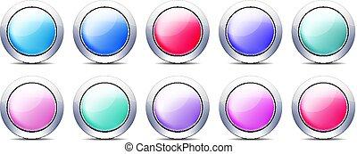pastel, komplet, pikolak, kolor, metal, brzeg, ikona