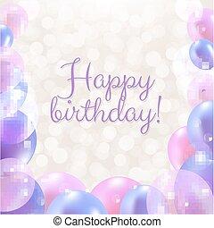 pastel, urodziny, balony, karta, szczęśliwy