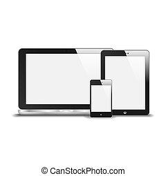 pastylka pc, odbicie., czysty, odizolowany, ilustracja, screen., telefon, wektor, notatnik, tło., realistyczny, biały, mądry
