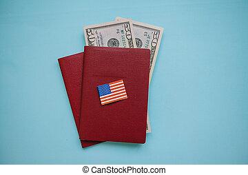 paszporty, bandera, na, obcokrajowy