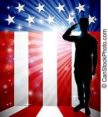 patriotyczny, żołnierz, amerykańska bandera, pozdrawianie