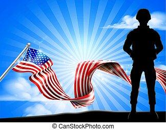 patriotyczny, żołnierz, amerykańska bandera, tło