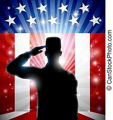 patriotyczny, pozdrawianie, amerykanka, żołnierz, bandera