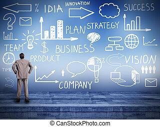 patrząc, biznesmen, plan., innowacja