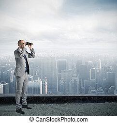 patrząc, biznesmen, przyszłość