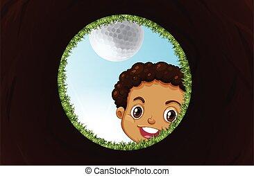 patrząc, chłopiec, otwór, golf