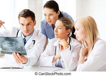 patrząc, grupa, rentgenowski, leczy