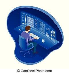 patrząc, isometric, albo, rozwijać, pracujące biuro, faktyczny, towarzystwo, wykresy, palce wskazujący, parawany, komputer, handlarski, takty muzyczne, biznesmen, wieloraki, programista, software, kupiec, stocks., pień